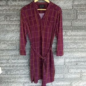 Donna Morgan burgundy plaid shirt dress 14 BNWT